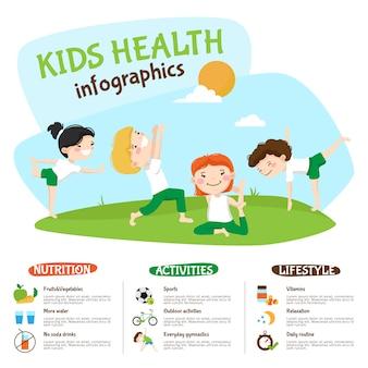 Cartel de inforgrahic de la yoga del estilo de vida sano de los niños