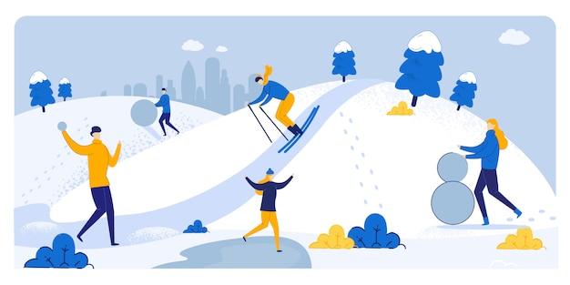 Cartel informativo diversión de invierno en tiempo nevoso