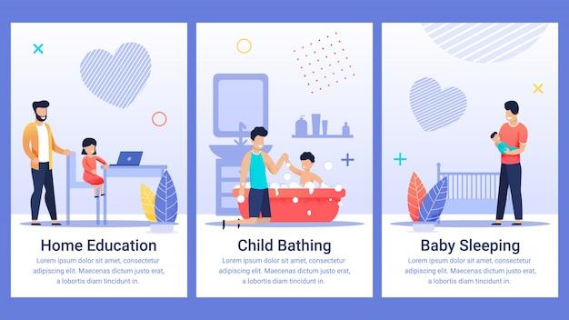 Cartel informativo escrito educación en el hogar, plano.