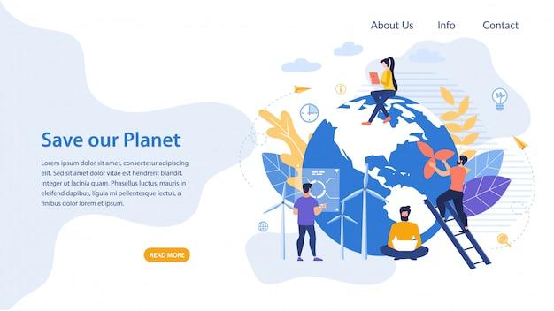 Cartel informativo escrito salvar nuestro planeta plano.