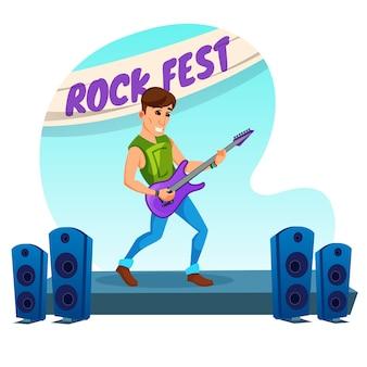 Cartel informativo rock fest evento cartoon.