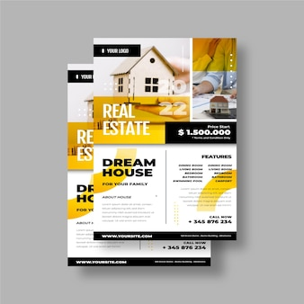 Cartel inmobiliario degradado con foto.