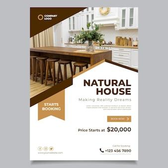 Cartel inmobiliario de diseño plano con foto lista para imprimir