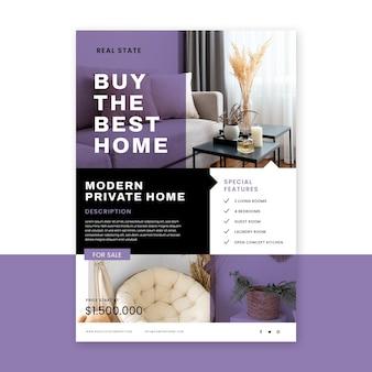 Cartel inmobiliario de diseño plano con foto.