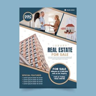 Cartel inmobiliario plano con foto.