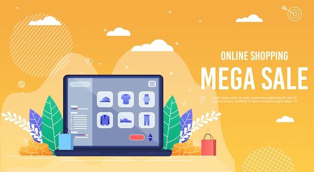 Cartel de inscripción en línea de compras mega venta.