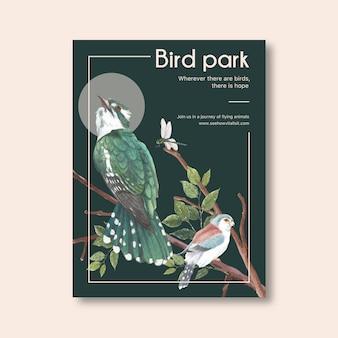 Cartel de insectos y aves con rama, libélula, pájaro acuarela ilustración.