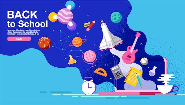 Cartel de inspiración de regreso a la escuela plano colorido