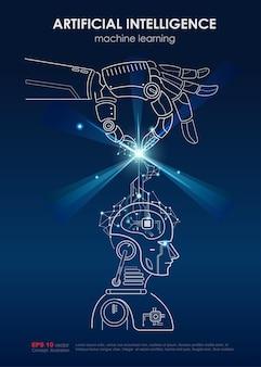 Cartel de inteligencia artificial y aprendizaje de máquinas
