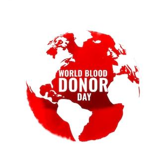 Cartel internacional del día de donación de sangre con mapa mundial