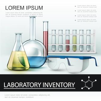 Cartel de inventario de laboratorio realista con matraces de tubos de ensayo y gafas protectoras