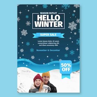Cartel de invierno concepto a4