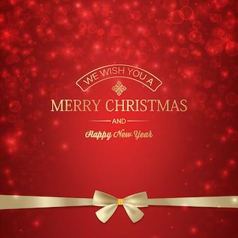 Cartel de invierno de feliz año nuevo con inscripción de saludo y lazo de cinta dorada en estrellas borrosas brillantes rojas