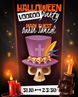Cartel de invitación de anuncio de fiesta vudú de halloween con calavera en ilustración de vela de máscara de sombrero