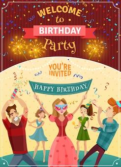 Cartel de la invitación del aviso de la fiesta de cumpleaños