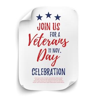 Cartel de invitación de celebración de fiesta de día de los veteranos o plantilla de folleto. hoja de papel curvada sobre fondo blanco. ilustración.