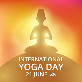 Cartel de invitación el día de yoga 21 de junio.