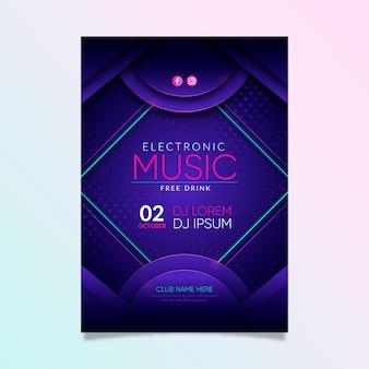 Cartel de invitación de evento de fiesta de música abstracta
