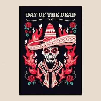 Cartel de invitación a la fiesta del día de los muertos