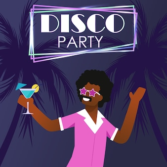 Cartel de invitación de fiesta disco en playa tropical
