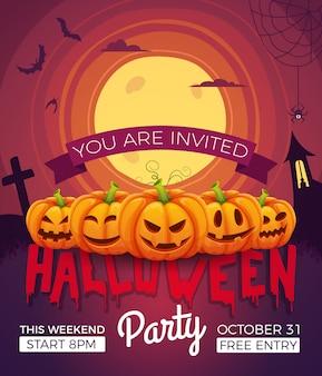 Cartel de invitación para fiesta de halloween. ilustraciones vectoriales de símbolos de halloween. calabazas con diferentes emociones.