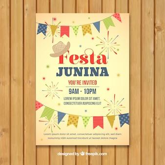 Cartel de invitación de fiesta junina con banderines diferentes