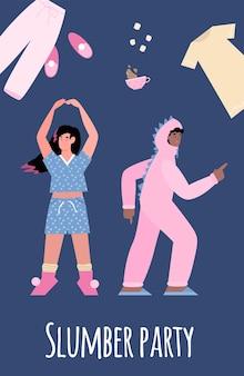 Cartel de invitación en fiesta de pijamas divertidas vacaciones de pijamas una ilustración vectorial