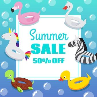 Cartel de la invitación de la fiesta de la piscina de los niños con los anillos inflables del flotador de la natación del caucho animal