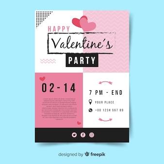 Cartel de invitación de fiesta de san valentin