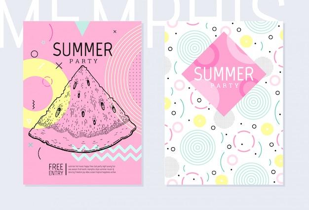 Cartel de invitación de fiesta de verano en estilo geométrico de memphis.