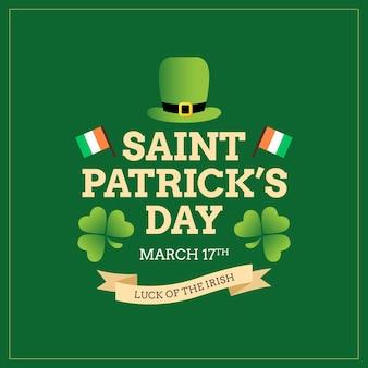 Cartel irlandés del día de san patricio y tarjeta de felicitación
