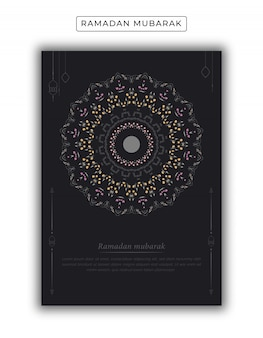 Cartel islámico ramadán kareem con decoración de mandala gratis