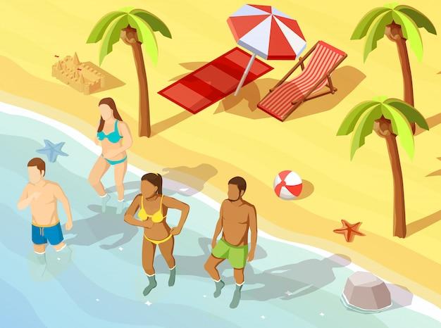 Cartel isométrico de los amigos playa océano vacaciones
