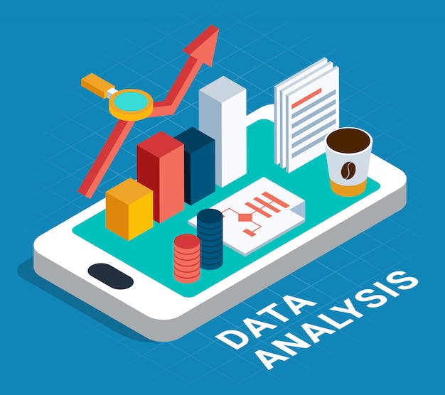 Cartel isométrico de análisis de datos