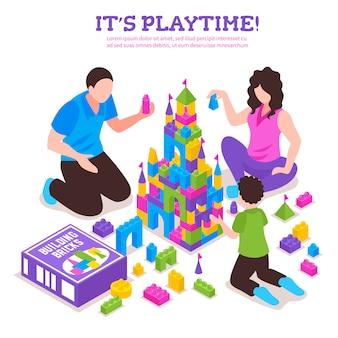 Cartel isométrico del constructor de juguetes