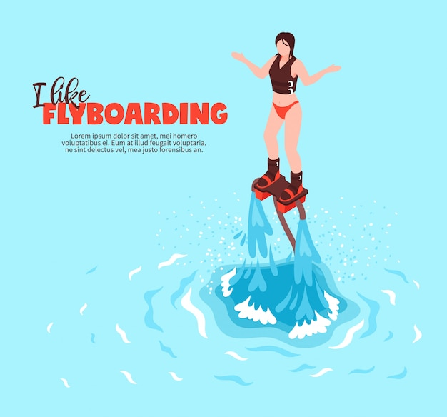 Cartel isométrico de deporte acuático de verano extremo con mujer joven en traje de baño en flyboard