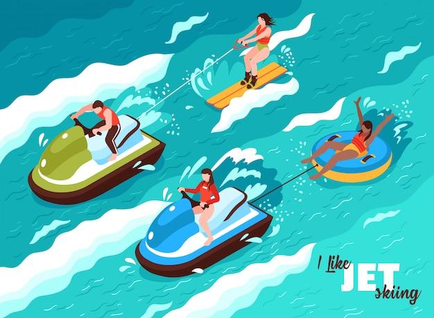 Cartel isométrico de deportes acuáticos de verano sobre las olas del mar con personas involucradas en el esquí acuático