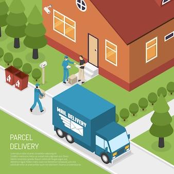 Cartel isométrico de la entrega del paquete de la oficina postal