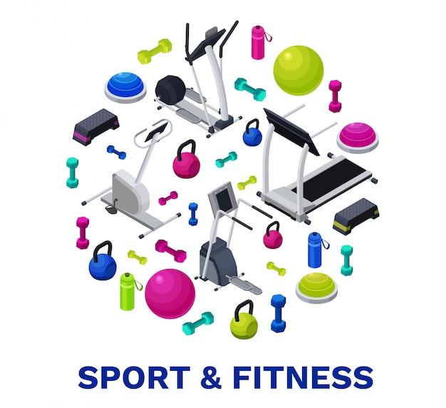 Cartel isométrico de fitness con equipamiento deportivo.