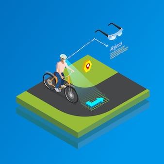 Cartel isométrico de gadget de navegación de realidad aumentada