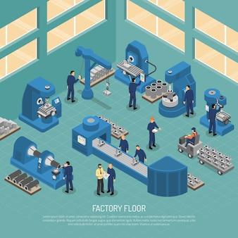 Cartel isométrico de la instalación de producción de la industria pesada