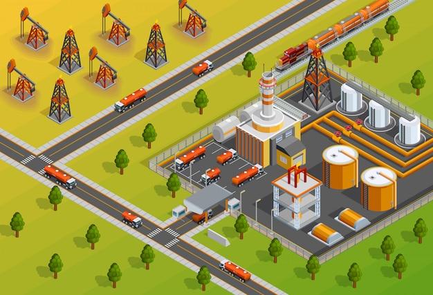 Cartel isométrico de la instalación de la refinería de la industria de oill