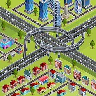 Cartel isométrico del intercambio de la intersección de las carreteras de la ciudad