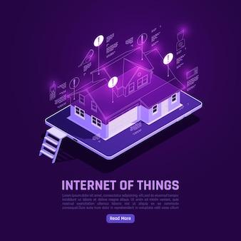 Cartel isométrico de internet de las cosas con casa inteligente.