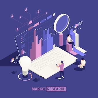 Cartel isométrico de investigación de mercado con gráficos de lupa de bombilla y perfiles de cuenta de usuario de red
