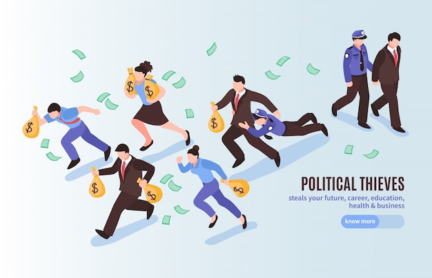 Cartel isométrico de ladrones políticos con funcionarios con bolsas de dinero huyendo de la policía