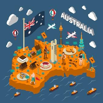 Cartel isométrico del mapa de las atracciones turísticas de australia