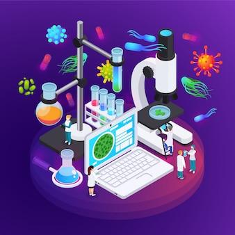 Cartel isométrico de microbiología que ilustra el equipo del laboratorio de ciencias para la investigación de estructuras de bacterias y virus.