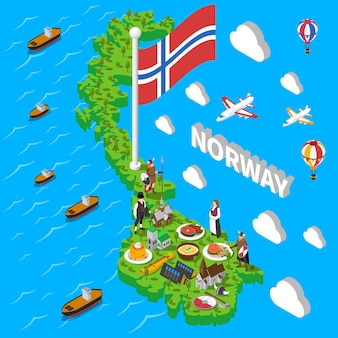Cartel isométrico de noruega de los símbolos turísticos del mapa