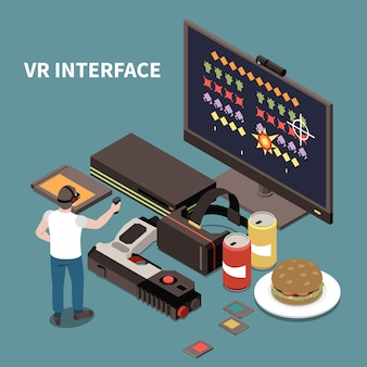 Cartel isométrico de personas e interfaces con un hombre con gafas de realidad virtual y un controlador para el juego